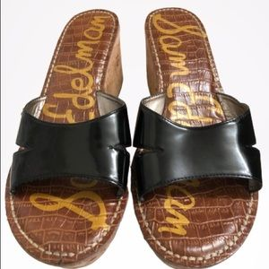 Sam Edelman Black Patent Leather Slides 10M